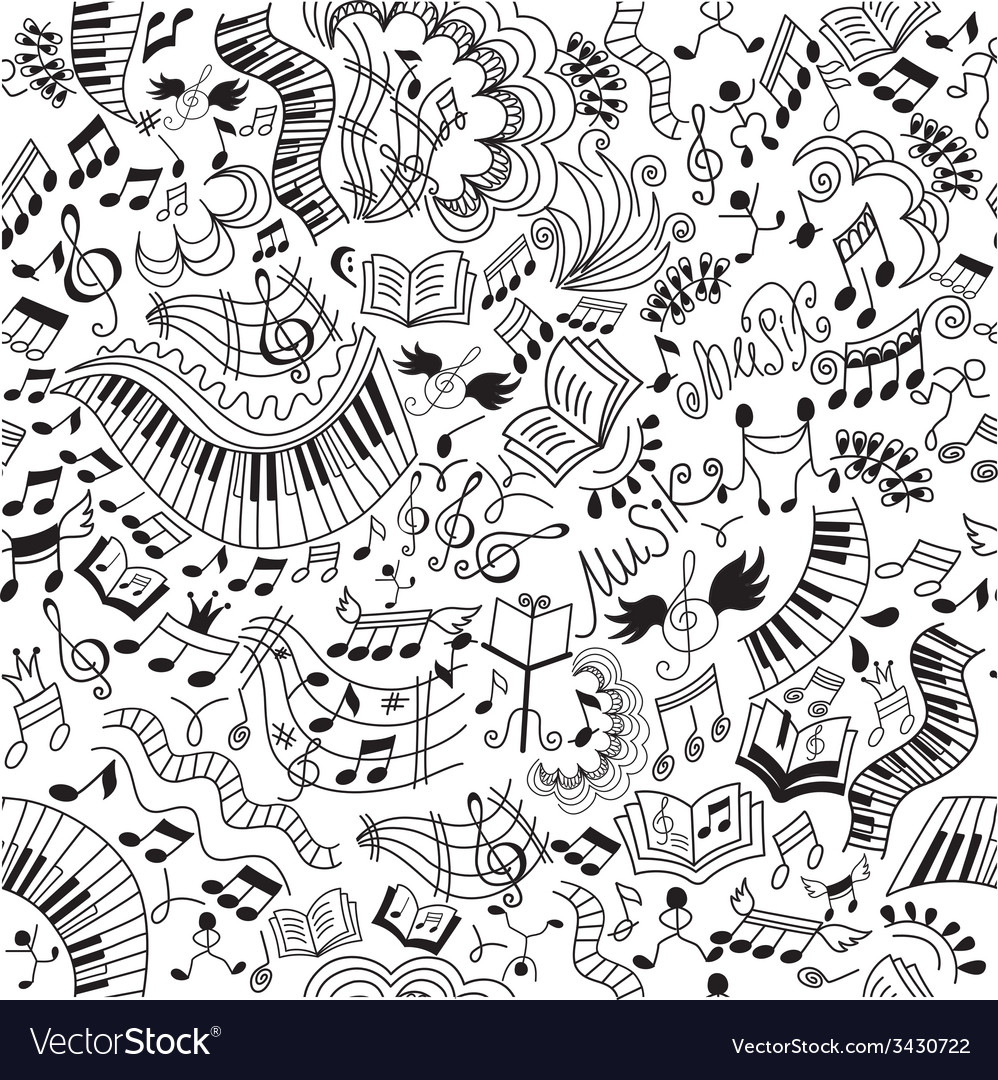 Musical seamless pattern doodles background vector