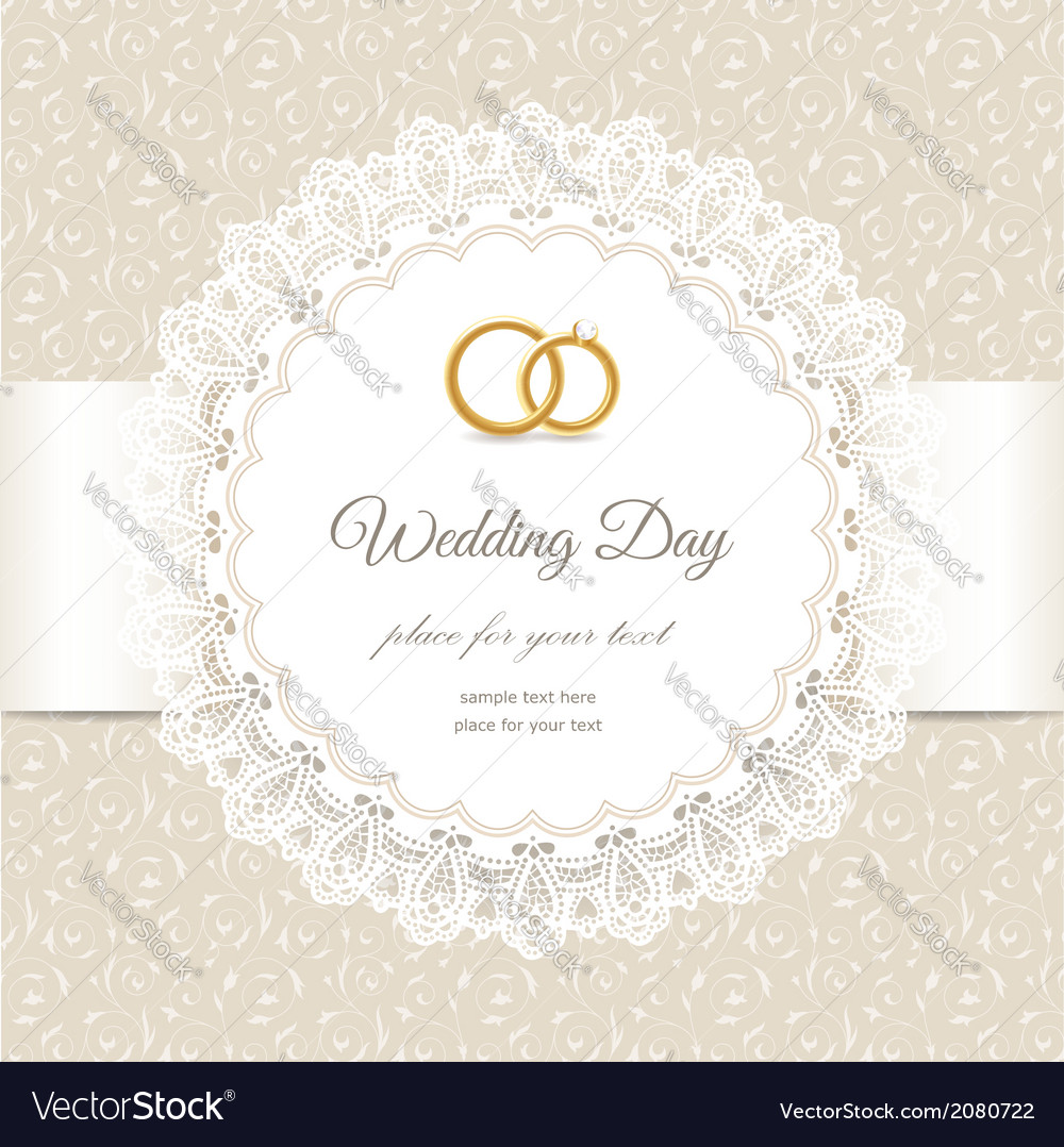 Weding beige lace vector