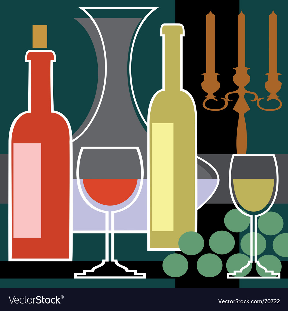 Wine bottles and glasses background vector
