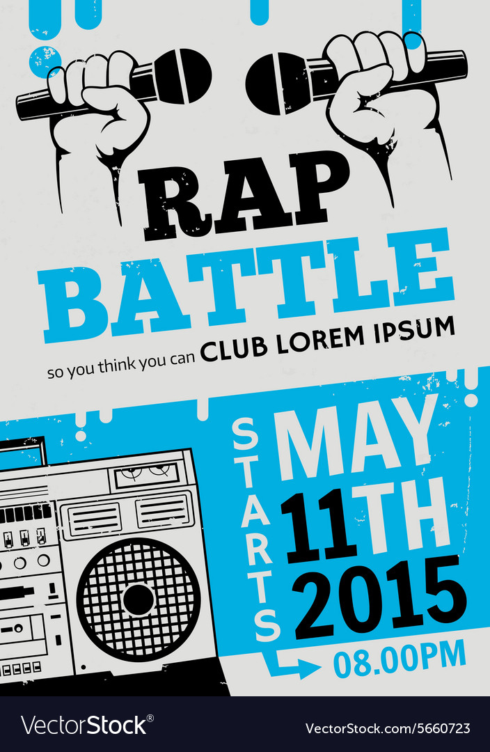 Rap battle concert hiphop music poster vector