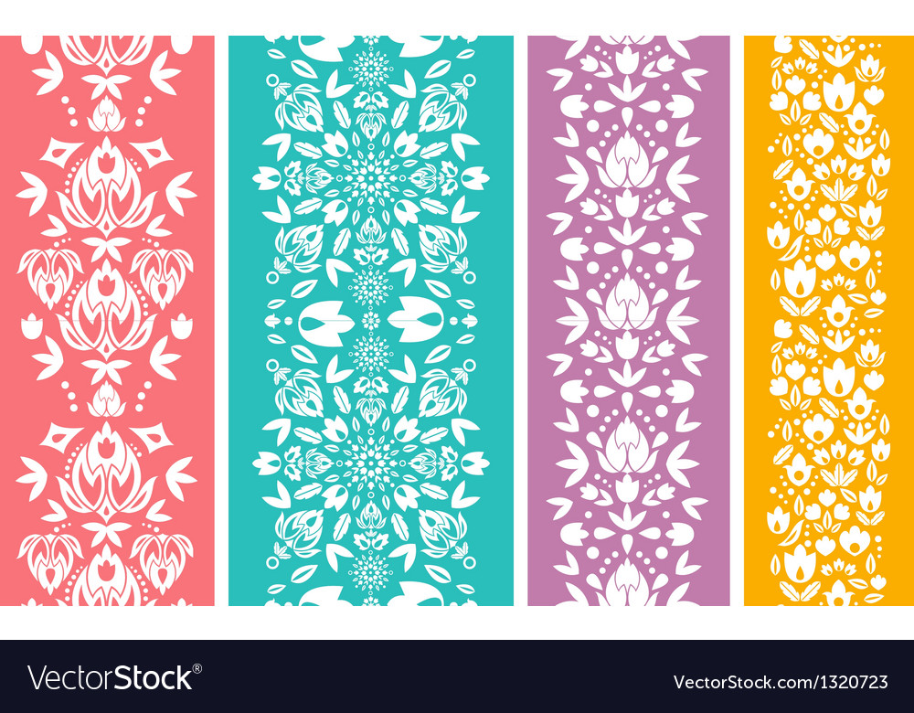 Set of four floral abstract vertical seamless vector