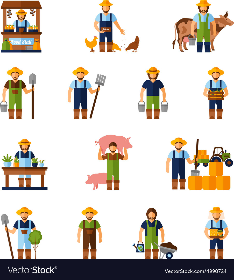 Farmers icons set vector