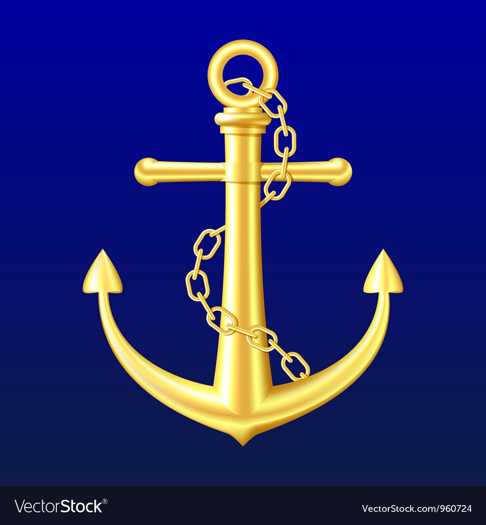 Gold anchor on blue background vector