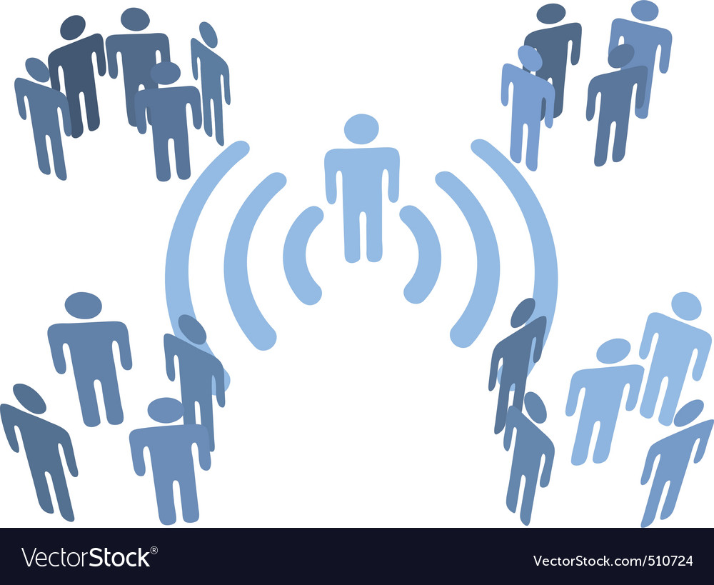 Person wifi wireless connection to people groups vector