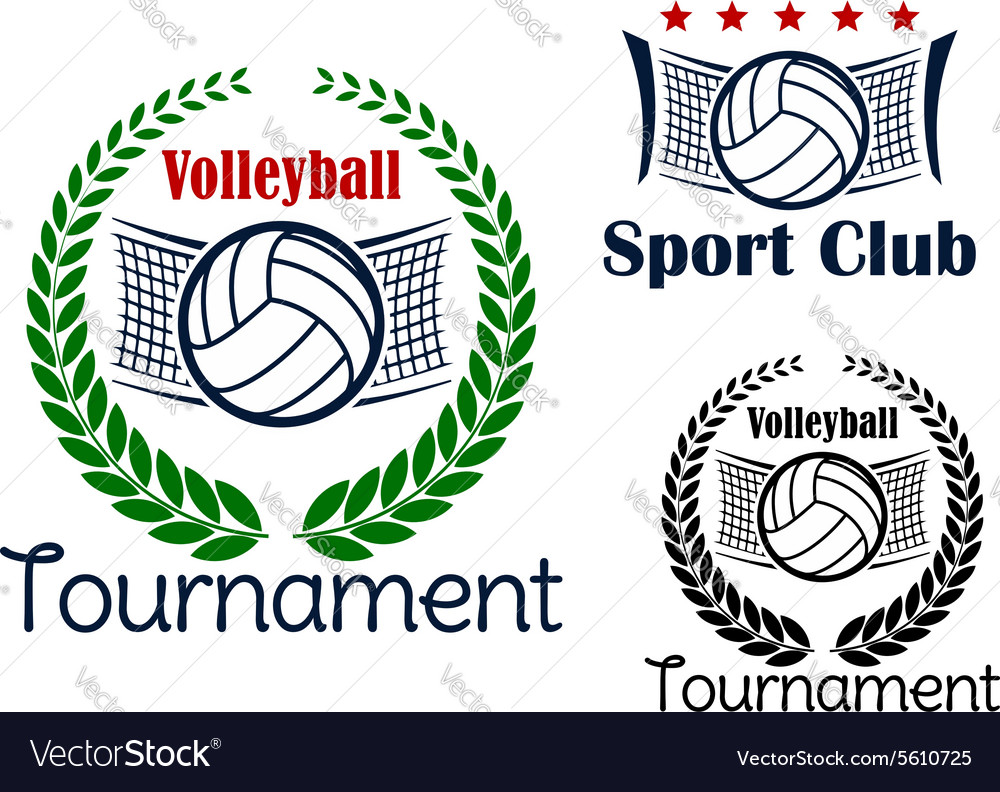 Volleyball game sport heraldic emblems vector