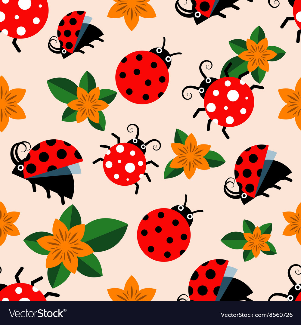 Seamless pattern with ladybugs and flowers vector