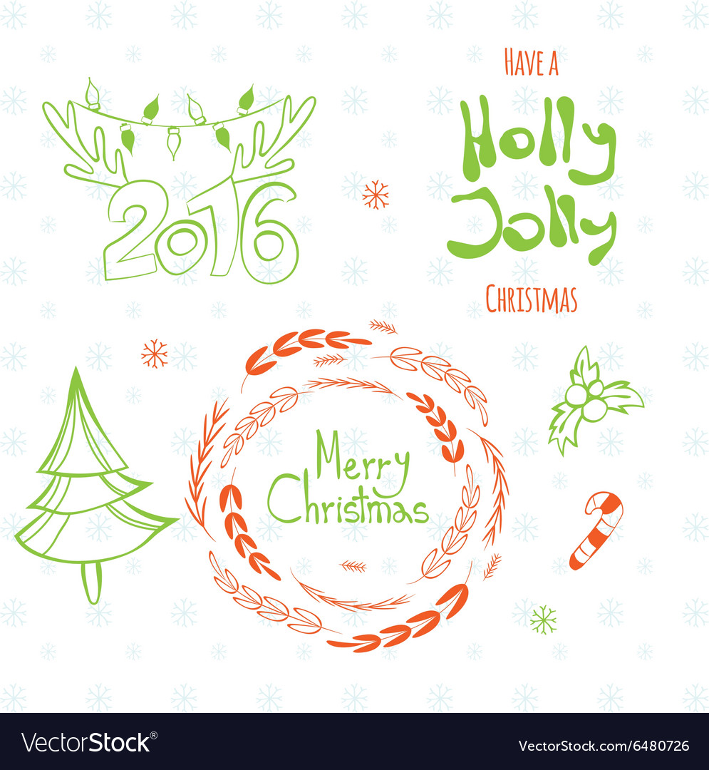Set of graphic christmas tags vector