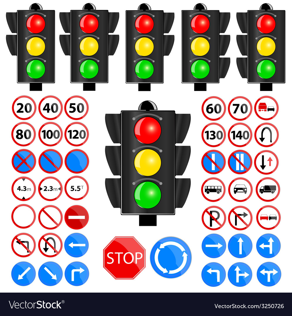 Traffic light and traffic sign vector