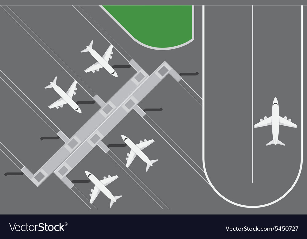 Flat design of airport buildingwith plans terminal vector