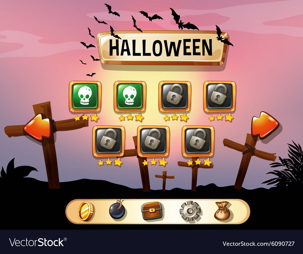Screensaver of halloween theme game vector