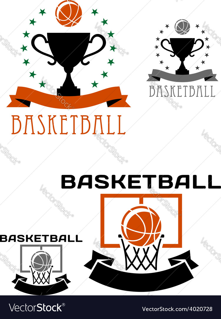 Basketball logo with balls basket trophy vector