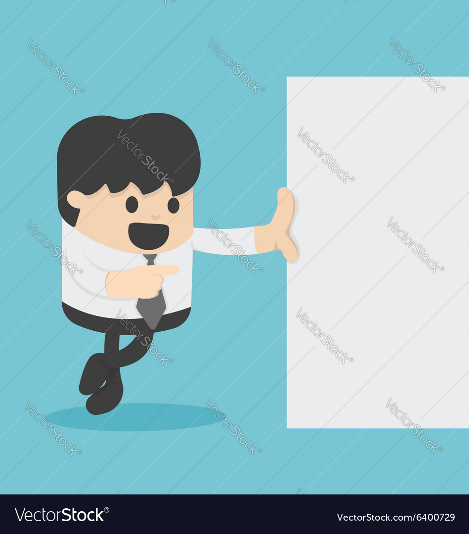 Businessman showing a board vector