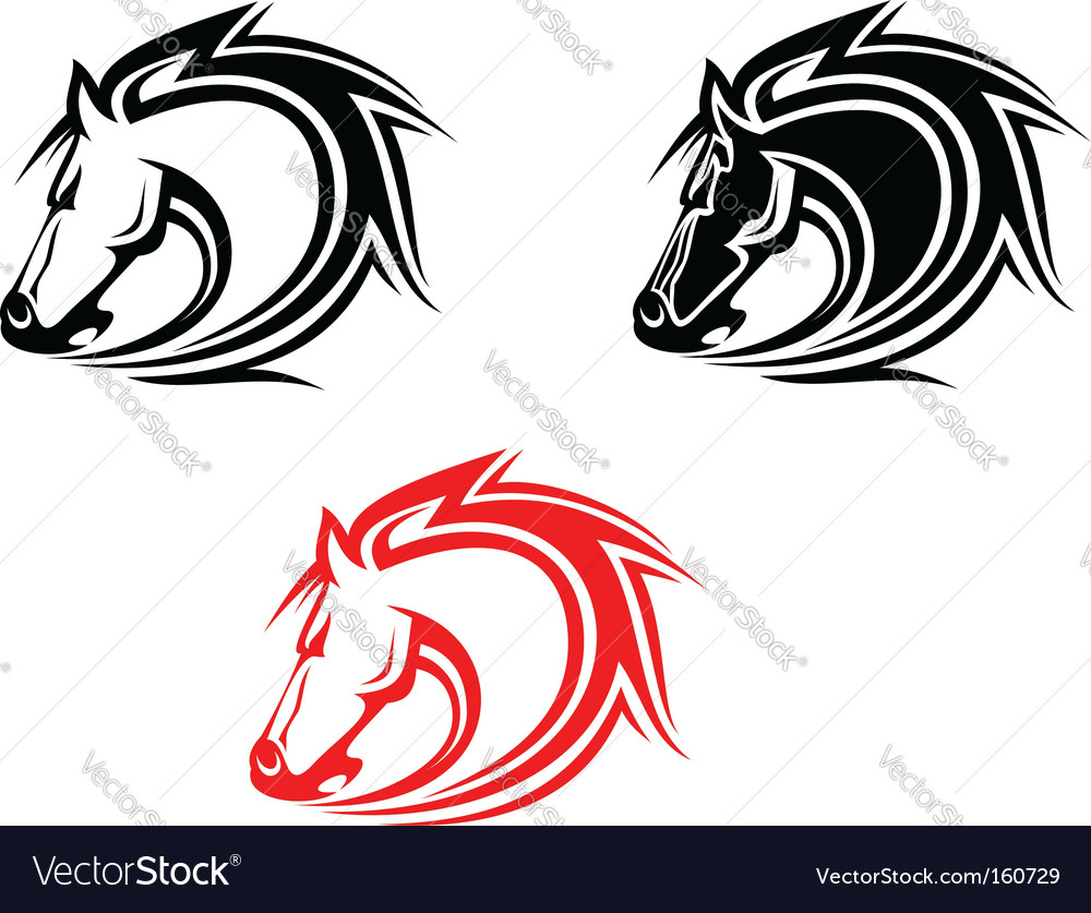 Horses tattoo vector