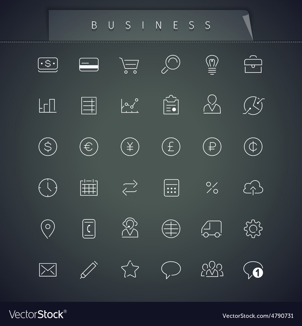 Business thin icons set vector