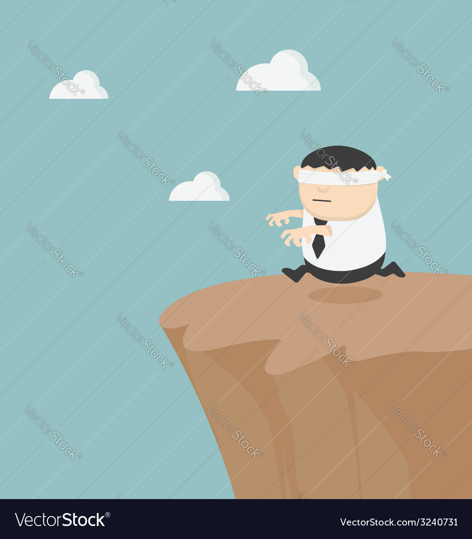 Concept of problem in blindfolded businessman fat vector
