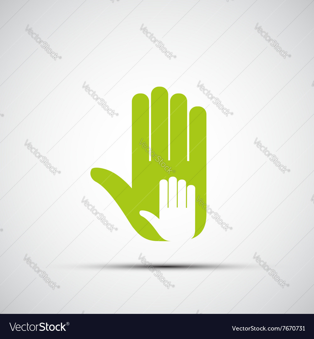 Logo of adult and childrens hands vector