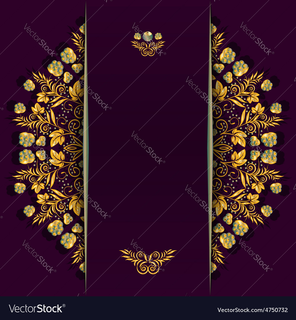 Rich background with golden floral and berry vector