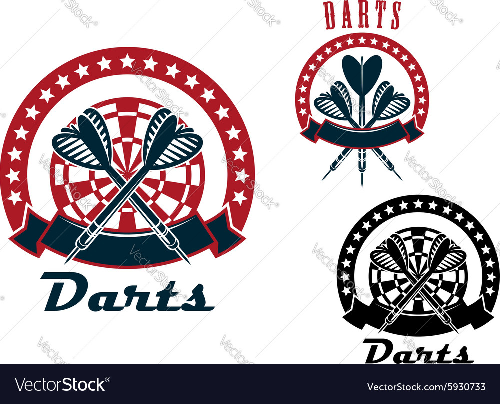 Darts emblems with arrows and dartboard vector