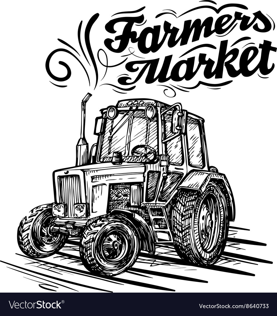 Farm tractor hand drawn isolated on a white vector