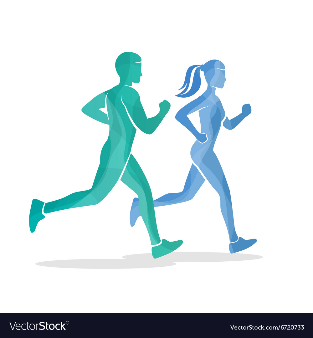 Running man and woman silhouettes vector