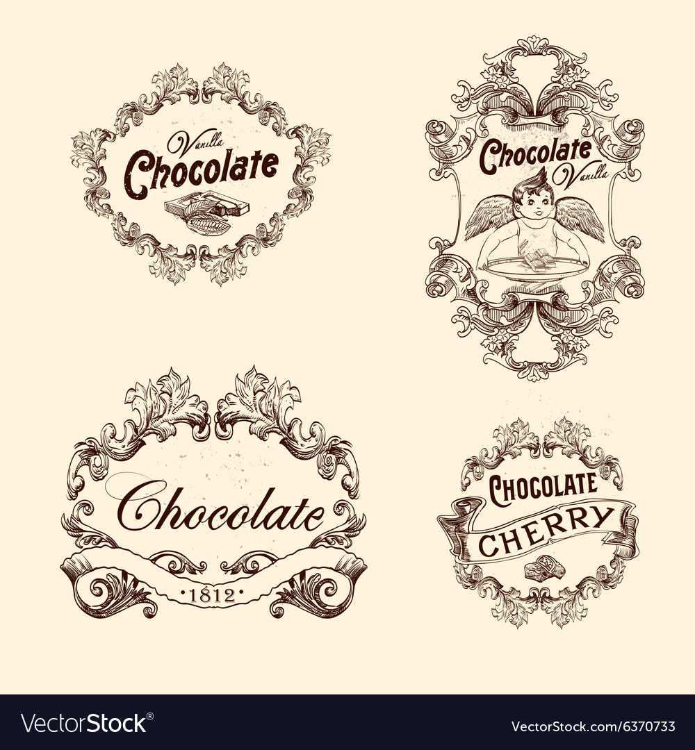 Set of chocolate labels design elements vector