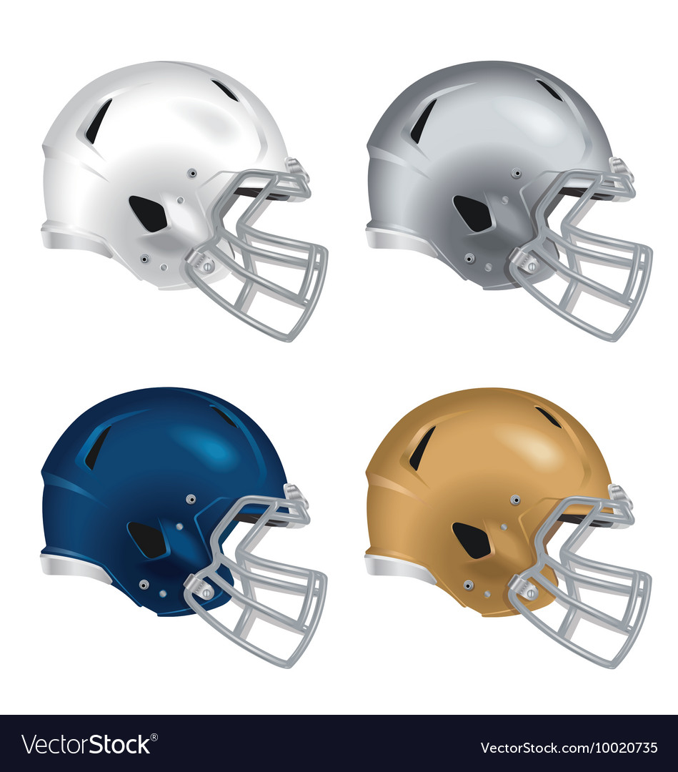 Football helmets with gray facemasks vector