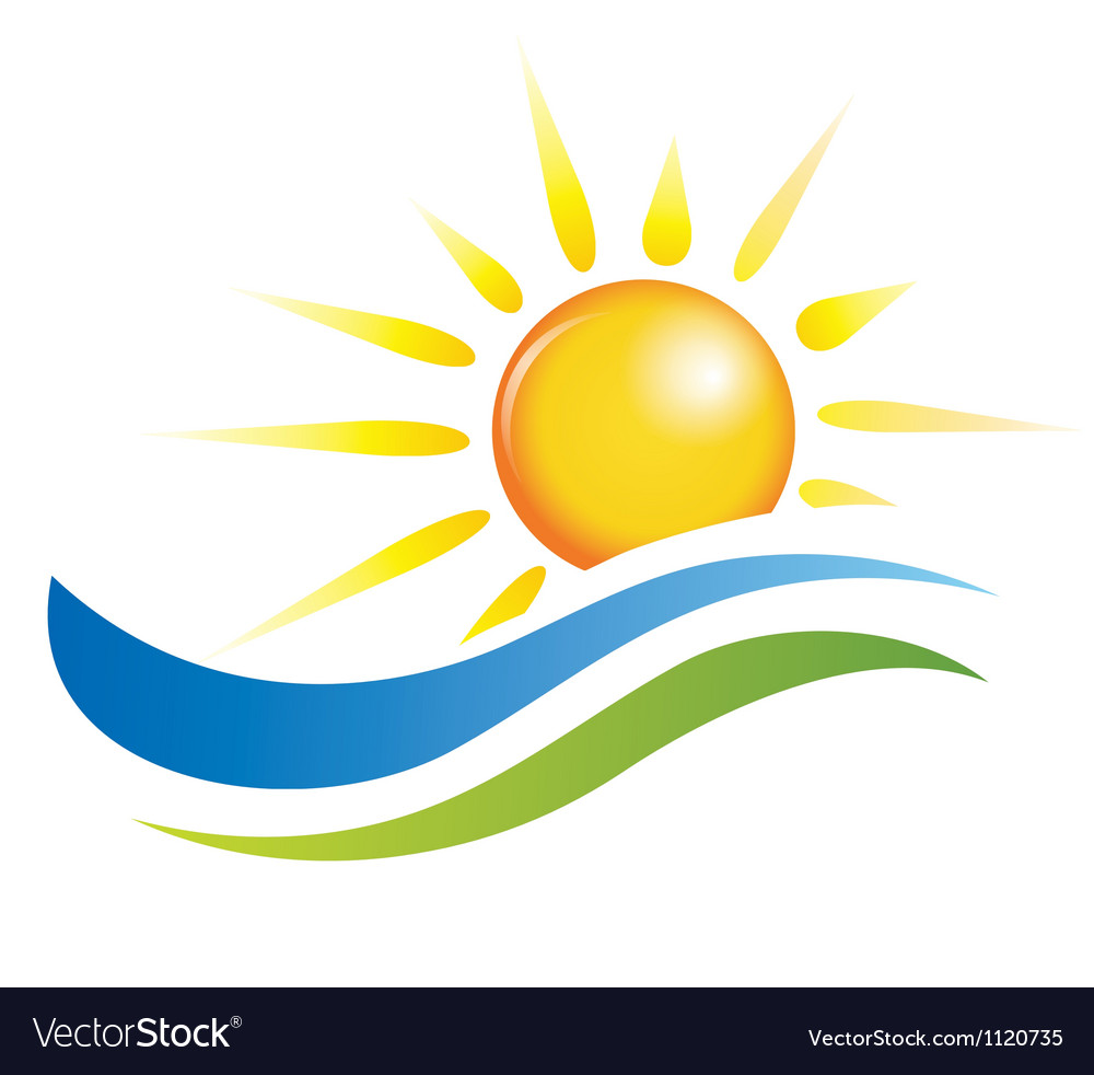 Sun and water waves design elements vector