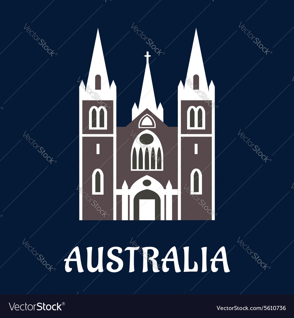 Australian cathedral church flat icon vector