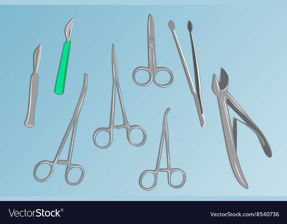 Basic surgical instruments vector