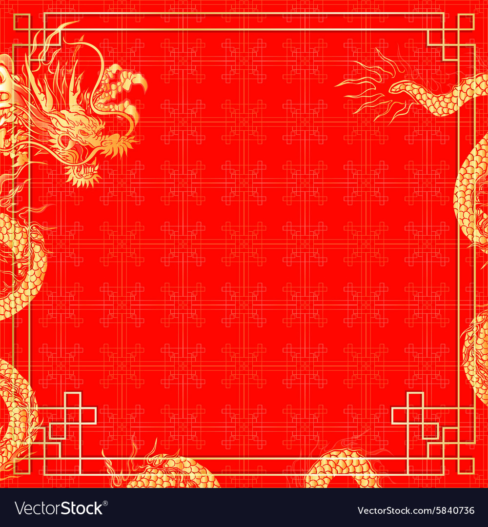 Template red background with dragon 2 vector