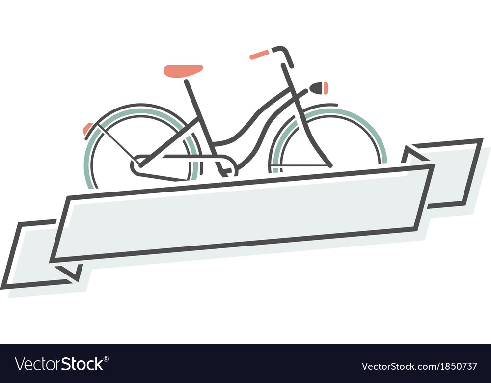 Retro bicycle and ribbon vector