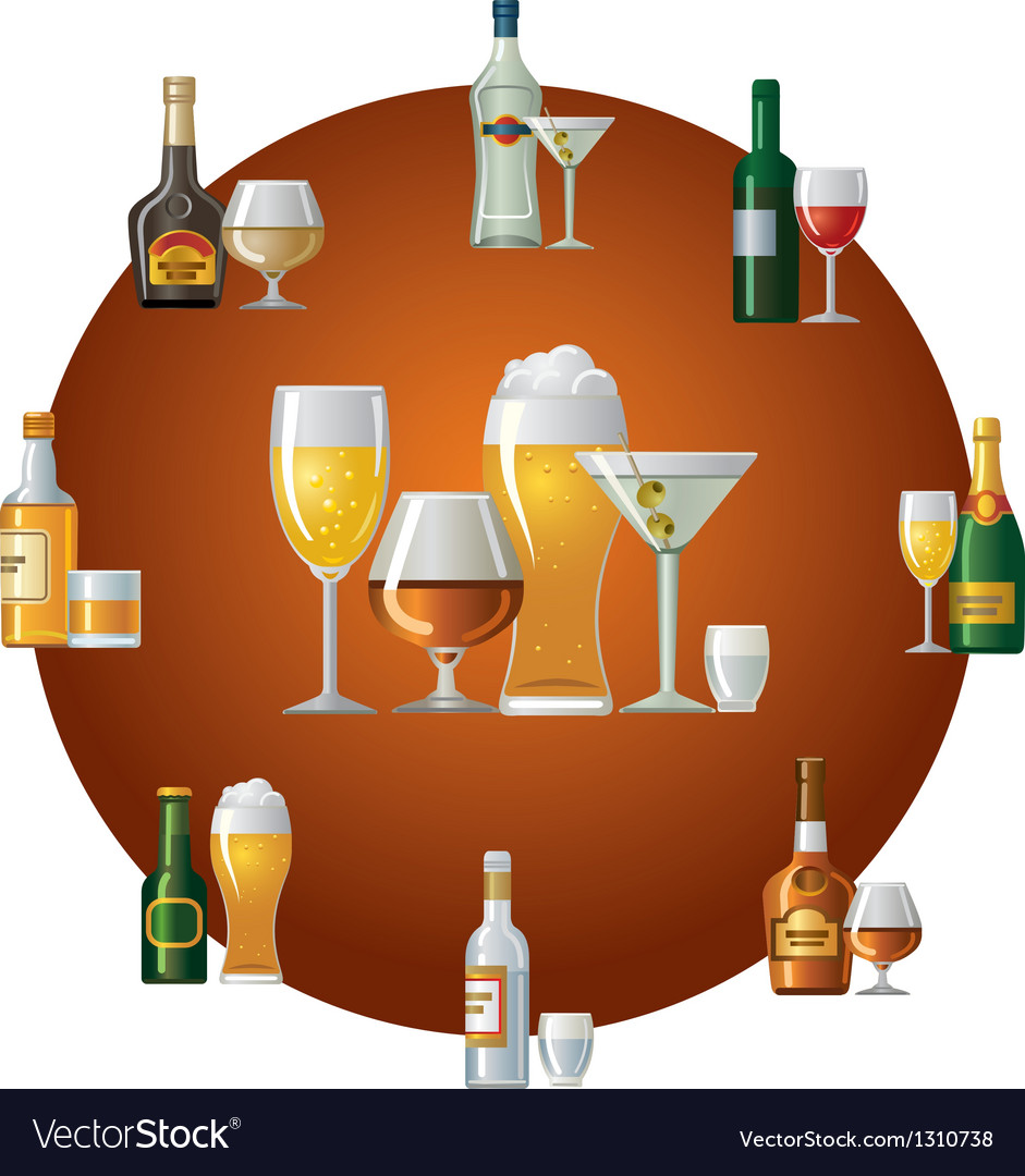 Alcohol drinks icon vector