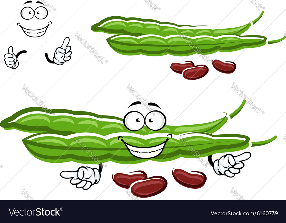 Cartoon bean pods with brown beans vector