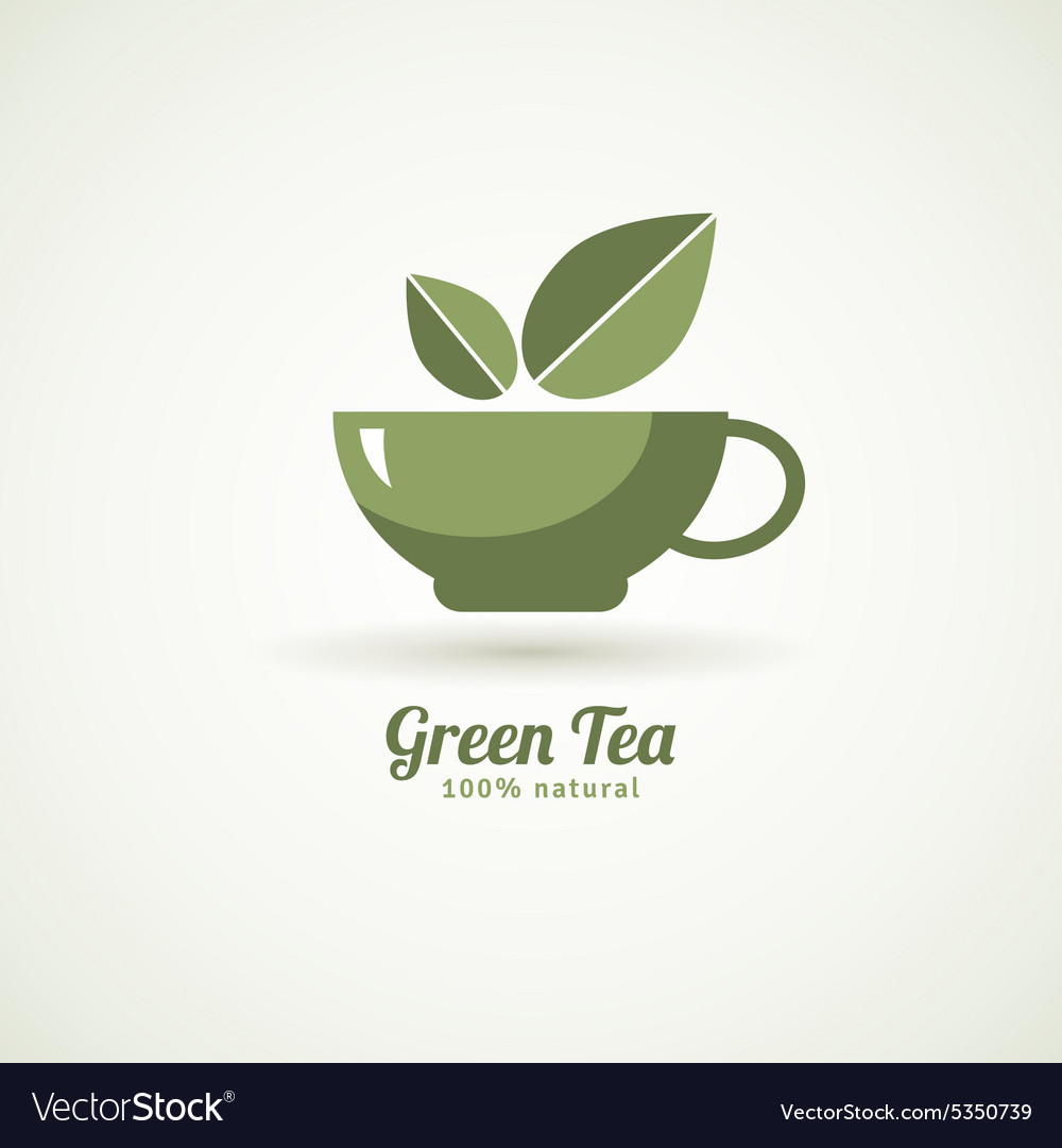 Green tea cup leaf design icon vector