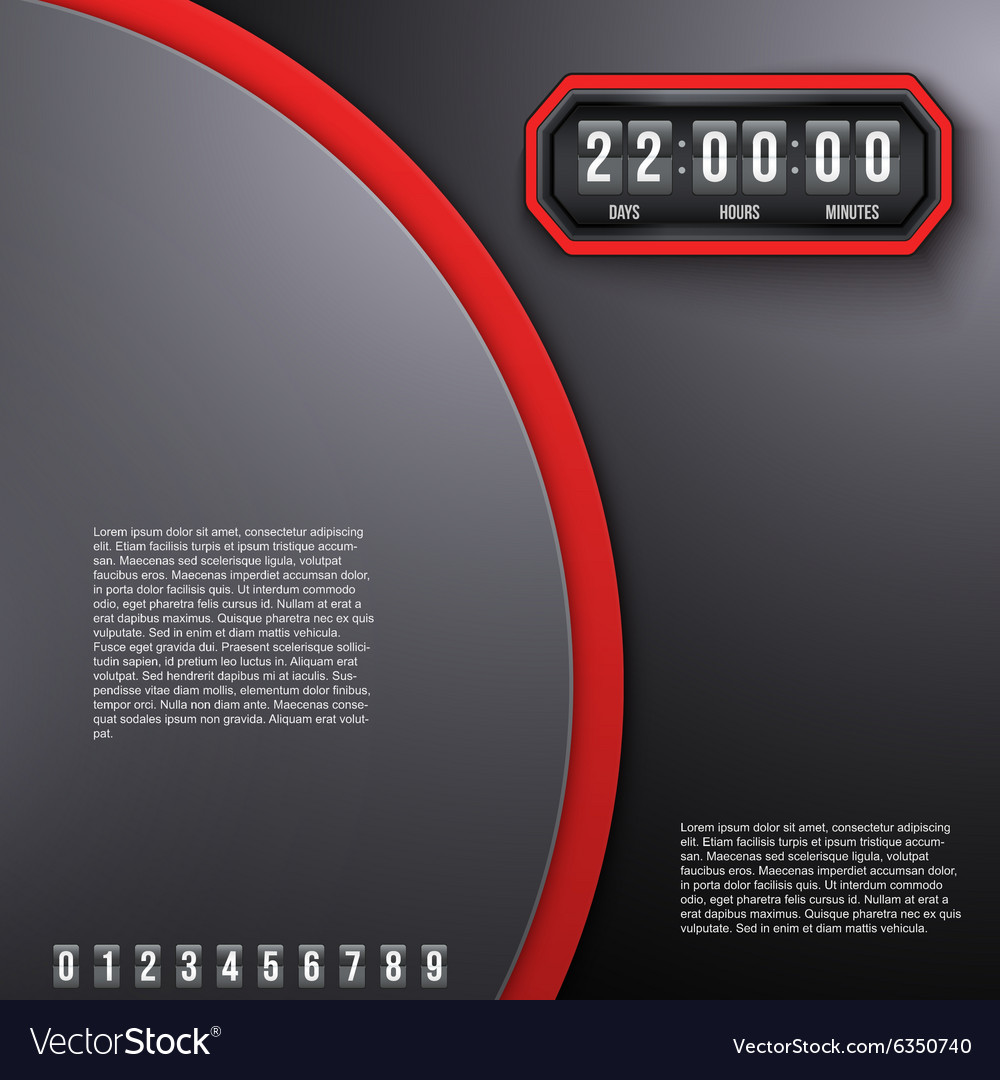 Background coming soon and countdown timer vector