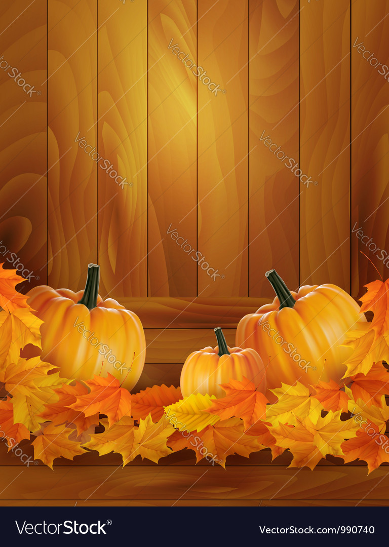 Background with three pumpkins vector