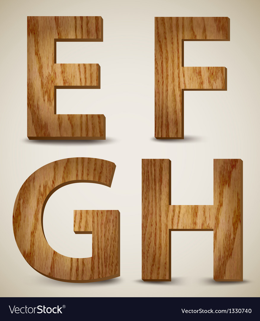 Grunge wooden alphabet letters e f g h vector