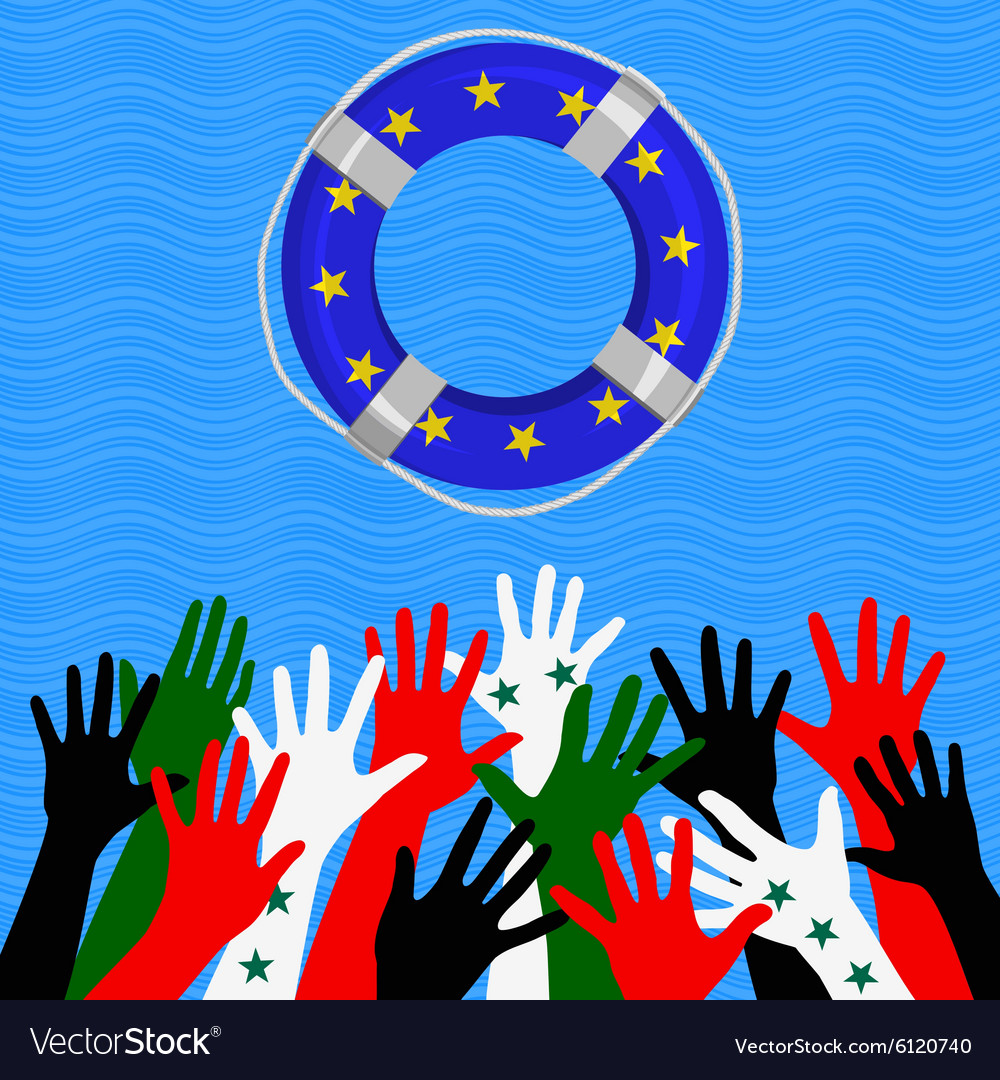 Refugees in europe concept vector