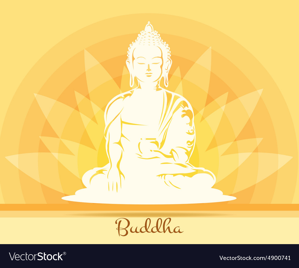 Buddha with lotus flower vector