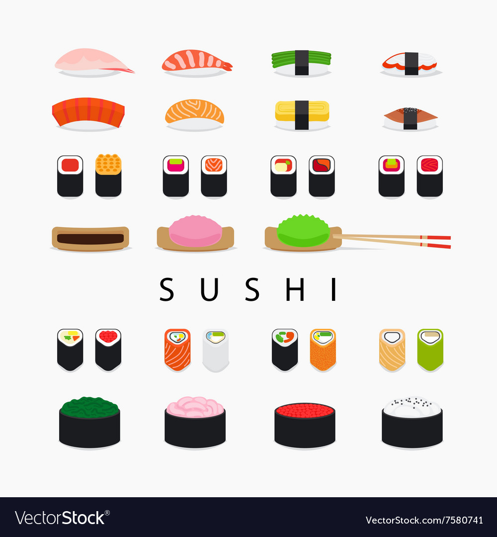 Japanese sushi icons vector