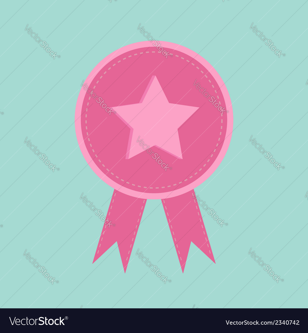 Badge with star and ribbons award icon in flat vector