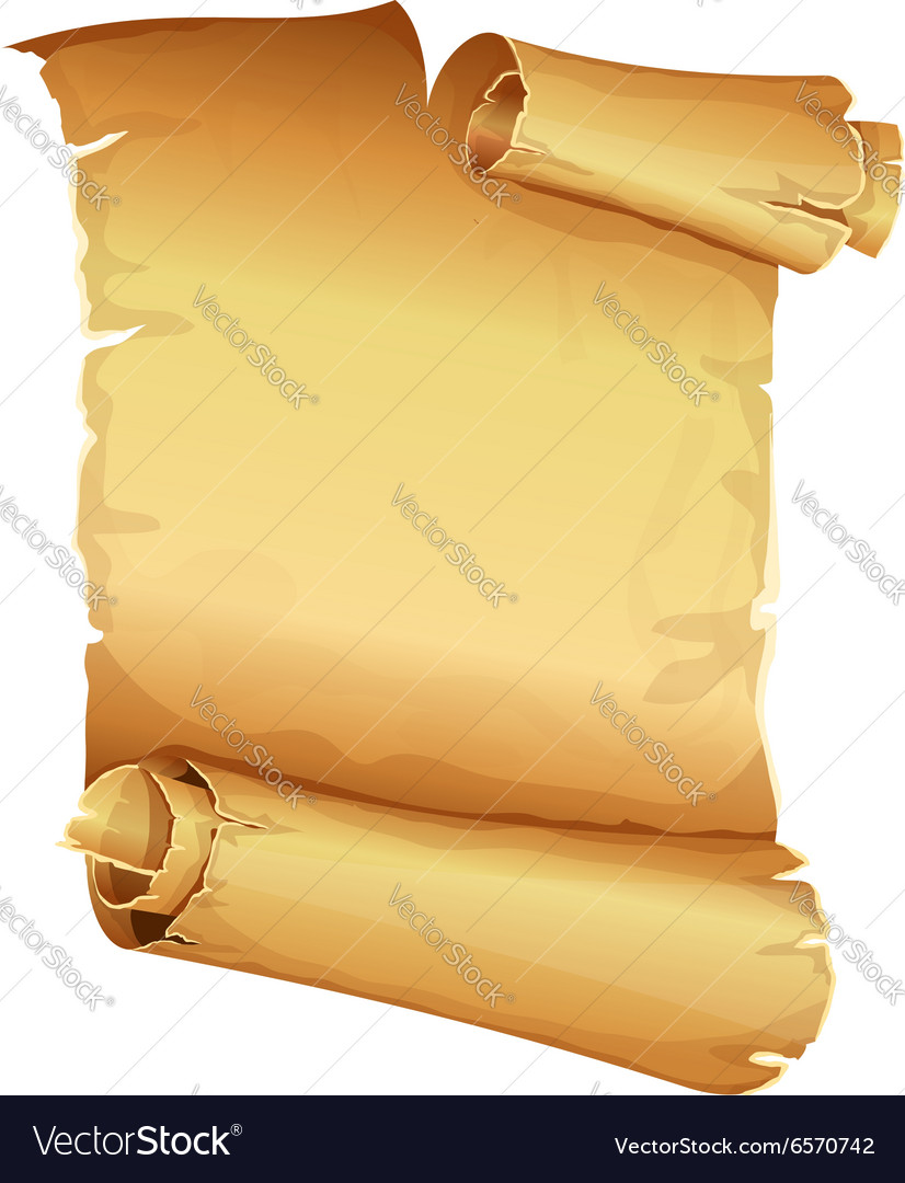 Big golden ribbon scroll of parchment vector