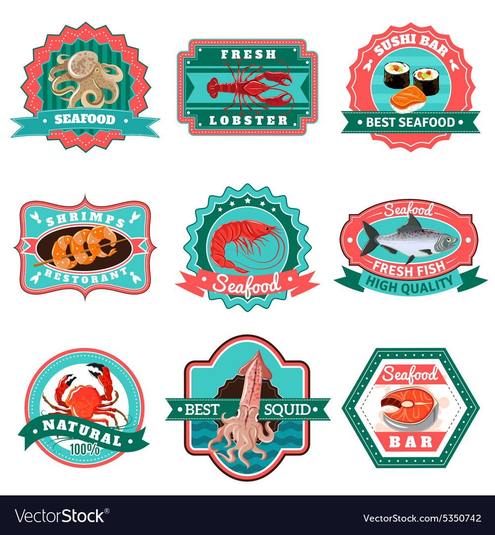 Seafood emblems set vector