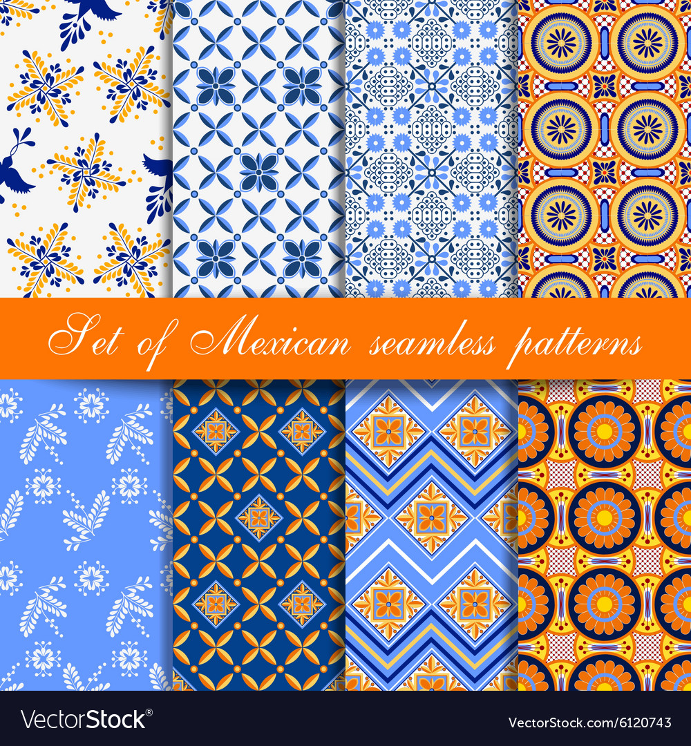 Set of mexican seamless patterns vector