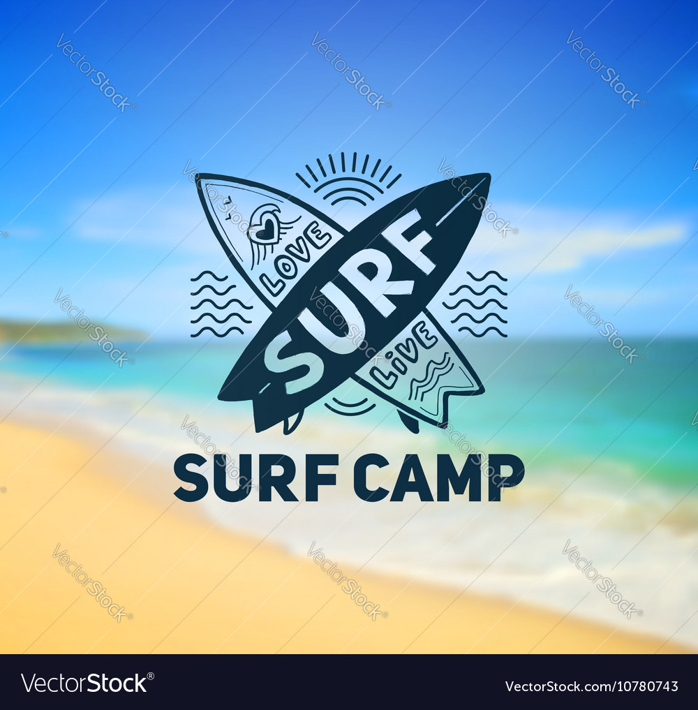 Surf camp logo template on blurred sunny beach vector