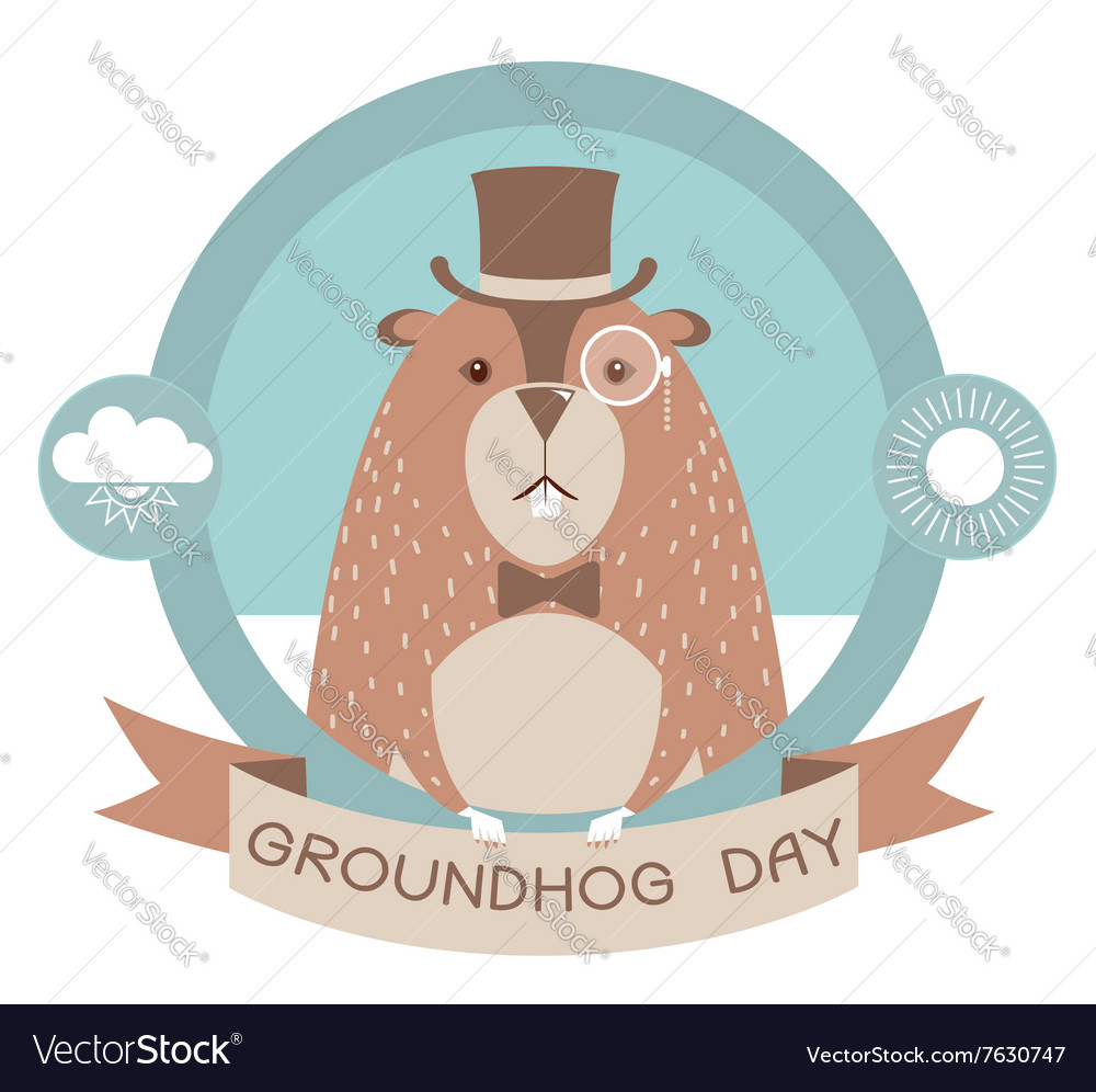Happy groundhog day label isolated on white vector