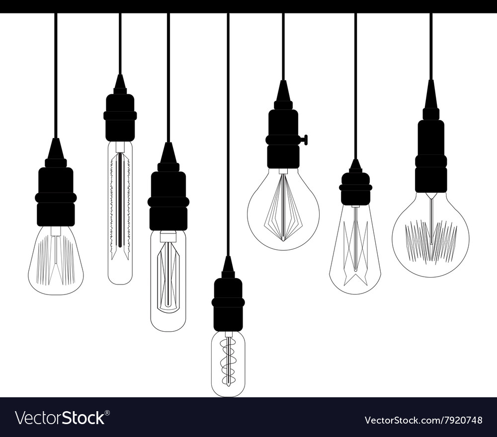 Set of edison loft lights retro lamp for design vector