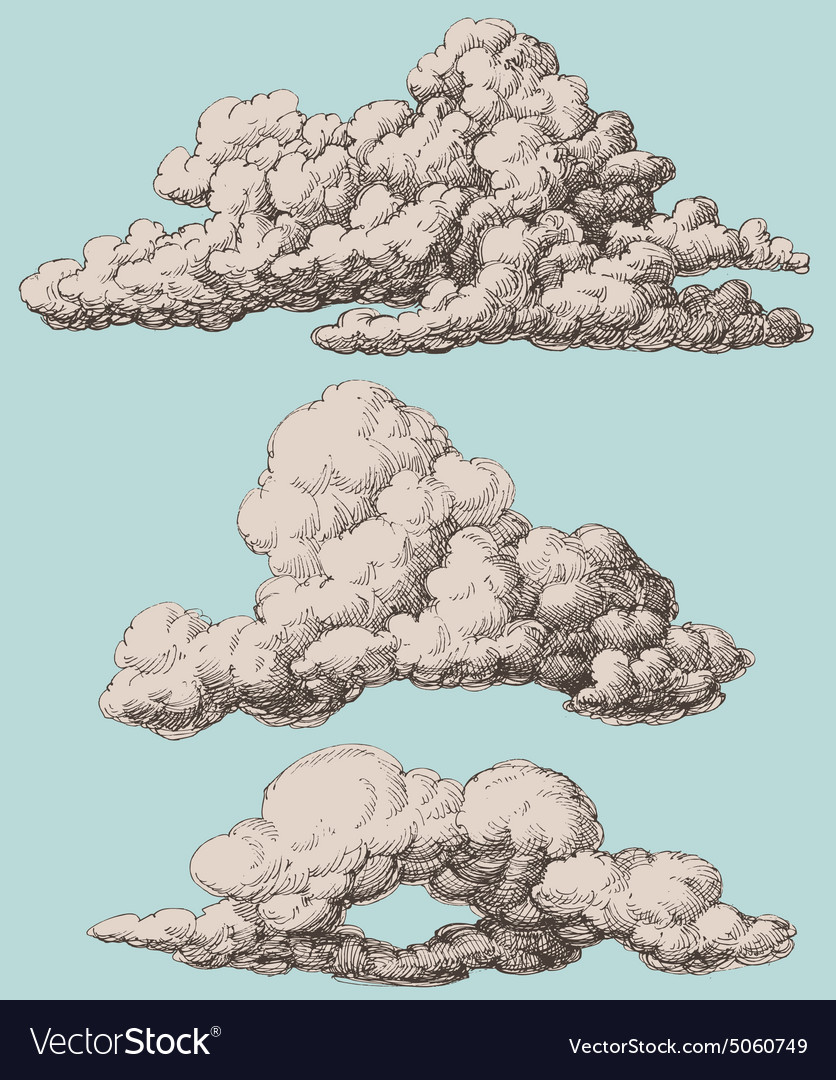 Detailed vintage style clouds set vector