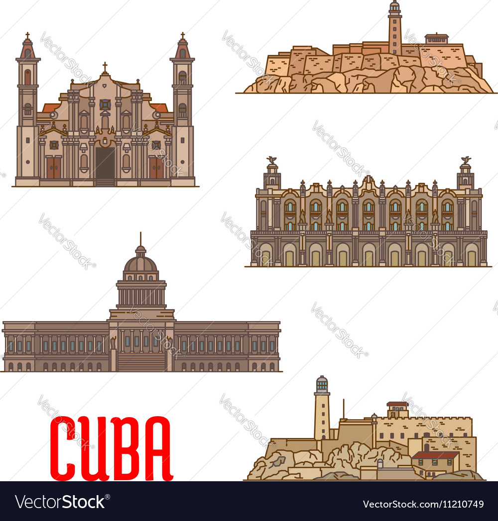 Landmarks and sightseeings of cuba vector