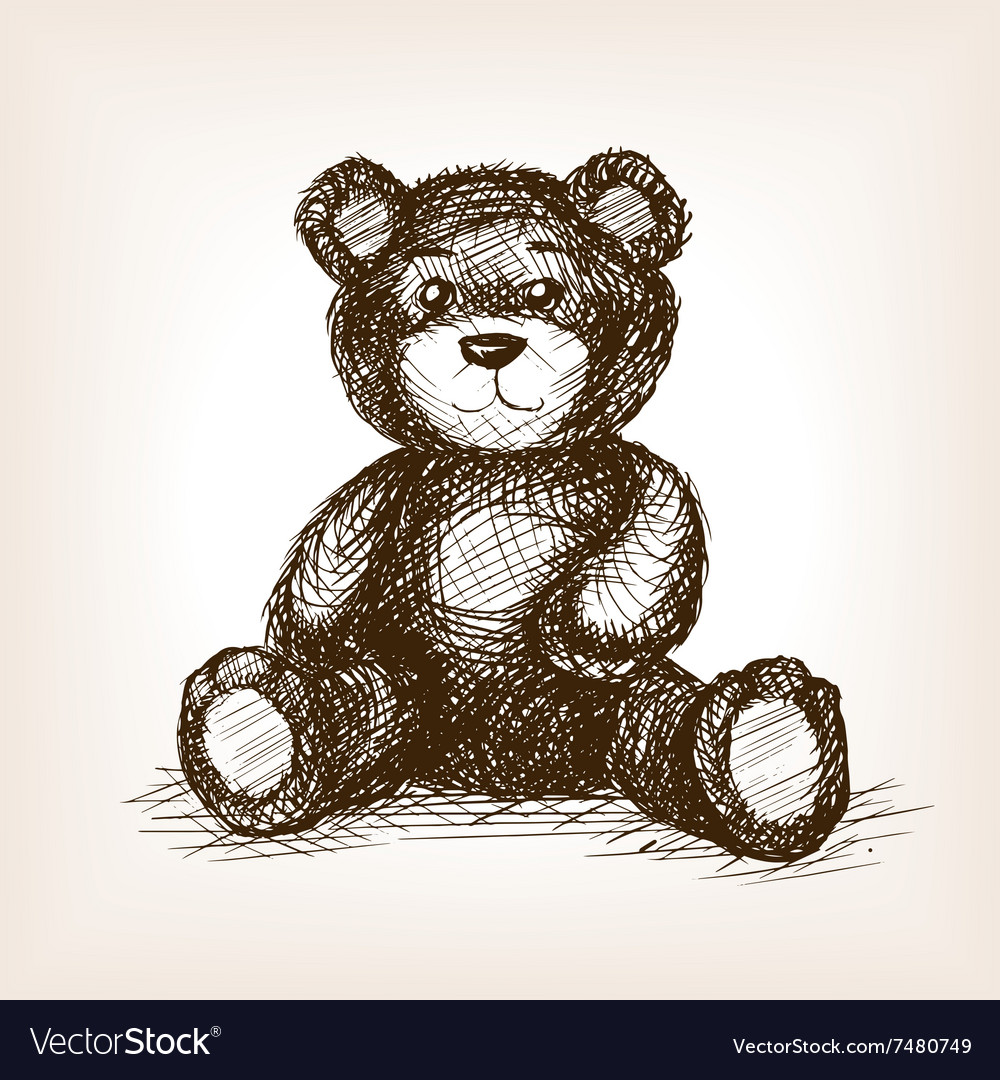 Teddy bear toy hand drawn sketch style vector